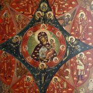 Икона Матери Божьей «Неопалимая Купина» гуслицких писем, сер. XIX века.