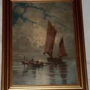 Ганс Беккер, морской мотив, масло по дереву 1900-1910 годы.