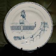 Декоративная тарелка с Медным Всадником на подставке.  Российская Империя,  XIX в.