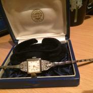 Часы Заря из платина с бриллиантами и алмазами