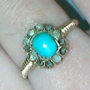 старинное золотое кольцо с бирюзой