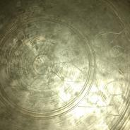 Поднос медный, луженый серебром
