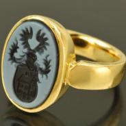 Кольцо с агатом, золото 750 пробы