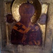 Икона Святой Николай Чудотворец 19 век , в окладе.(серебрение)