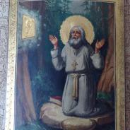 Икона Серафим Саровский молящийся на камне