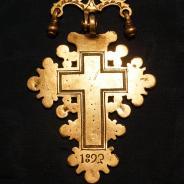 Старинный серебряный старообрядческий наперсный крест. Российская Империя, 1893 год.