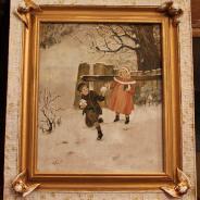 Картина в виде открытки. Рождественский пейзаж.