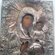Икона Божией Матери 1860-е годы писанная на дереве с серебром размеры 22х17.5