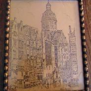 Картина в металлической раме под стеклом