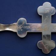 Старинный напрестольный крест с эмалями в стиле
