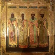Икона Митрополитов - дерево,левкас,сусальное золото,рубеж 19-20веков.