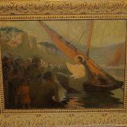 Старинная картина «Проповедь Иисуса Христа на Тивериадском (Генисаретском) озере» близ Капернаума». Россия, 1870-е гг.