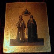 Икона Покров Богоматерь с избранными святыми Романом Сладкопевцем и Иоанном Дамаскиным